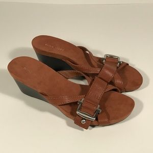 Nine West Brown Leather Wedge Sandals Women 7.5 M